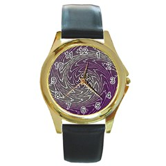 Graphic Abstract Lines Wave Art Round Gold Metal Watch