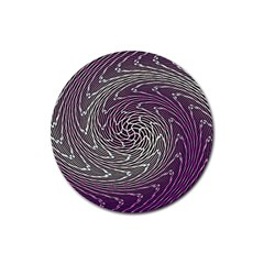 Graphic Abstract Lines Wave Art Rubber Coaster (round)
