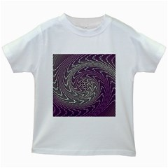 Graphic Abstract Lines Wave Art Kids White T Shirts
