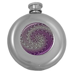 Graphic Abstract Lines Wave Art Round Hip Flask (5 Oz)