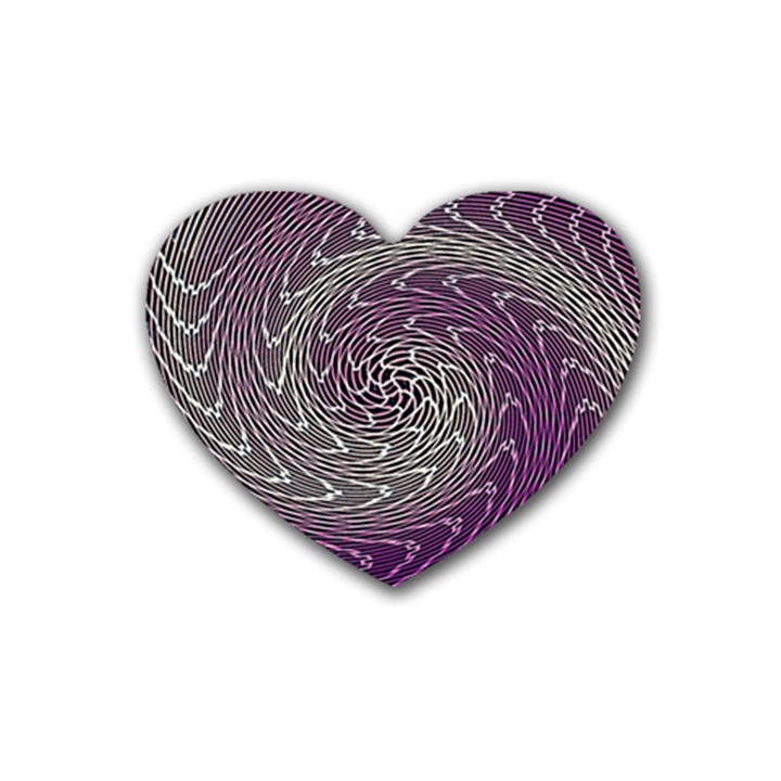 Graphic Abstract Lines Wave Art Rubber Coaster (Heart)