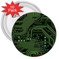 Board Computer Chip Data Processing 3  Buttons (10 Pack)