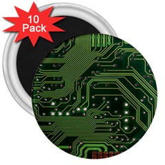 Board Computer Chip Data Processing 3  Magnets (10 Pack)