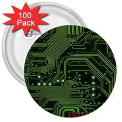 Board Computer Chip Data Processing 3  Buttons (100 Pack)