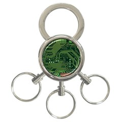 Board Computer Chip Data Processing 3 Ring Key Chains