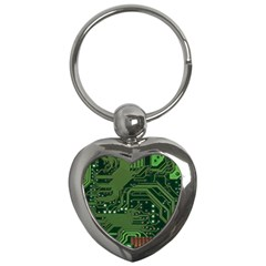 Board Computer Chip Data Processing Key Chains (heart)