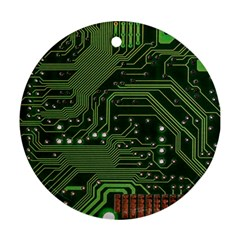 Board Computer Chip Data Processing Round Ornament (two Sides)