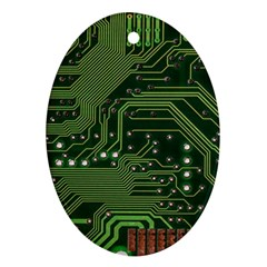 Board Computer Chip Data Processing Oval Ornament (two Sides)