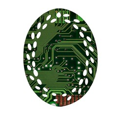 Board Computer Chip Data Processing Oval Filigree Ornament (two Sides)