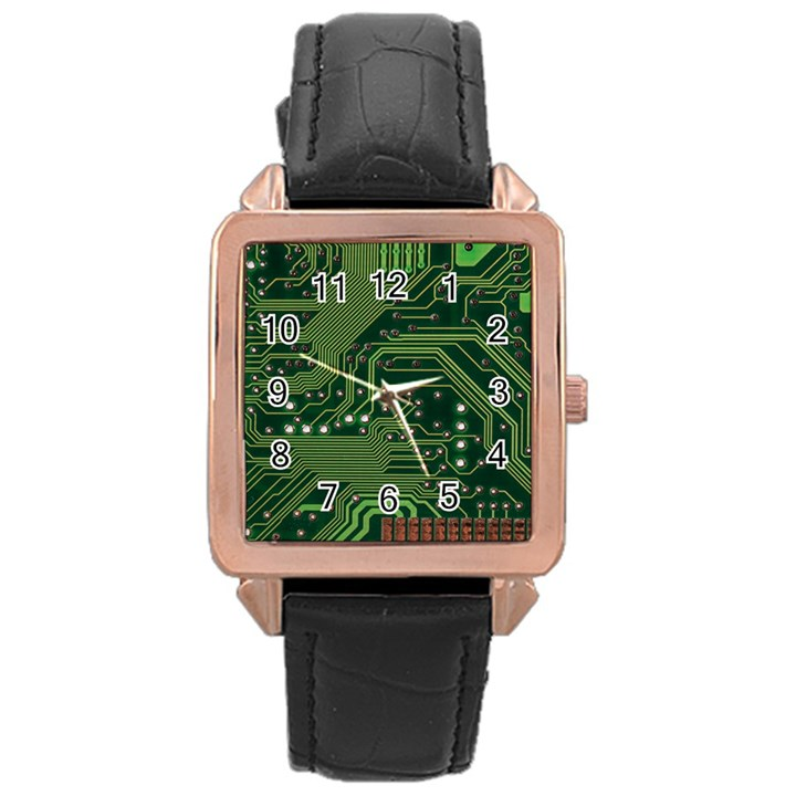 Board Computer Chip Data Processing Rose Gold Leather Watch