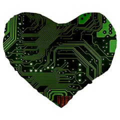 Board Computer Chip Data Processing Large 19  Premium Flano Heart Shape Cushions
