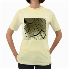Graphic Design Background Women s Yellow T Shirt