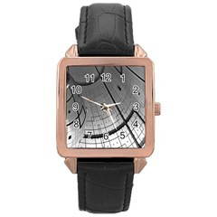 Graphic Design Background Rose Gold Leather Watch