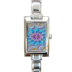 Fractal Curve Decor Twist Twirl Rectangle Italian Charm Watch