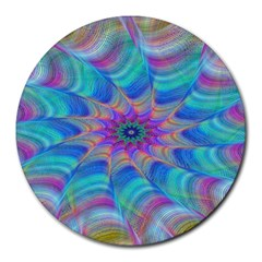 Fractal Curve Decor Twist Twirl Round Mousepads