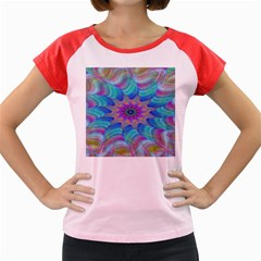 Fractal Curve Decor Twist Twirl Women s Cap Sleeve T Shirt