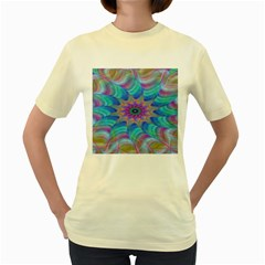 Fractal Curve Decor Twist Twirl Women s Yellow T Shirt