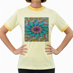 Fractal Curve Decor Twist Twirl Women s Fitted Ringer T Shirts