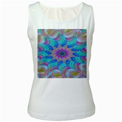 Fractal Curve Decor Twist Twirl Women s White Tank Top