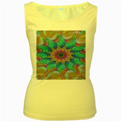 Fractal Curve Decor Twist Twirl Women s Yellow Tank Top