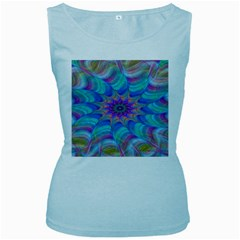 Fractal Curve Decor Twist Twirl Women s Baby Blue Tank Top