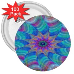 Fractal Curve Decor Twist Twirl 3  Buttons (100 Pack)