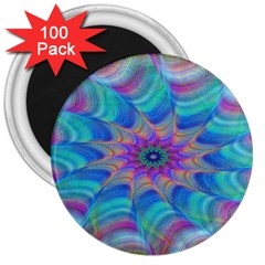 Fractal Curve Decor Twist Twirl 3  Magnets (100 Pack)