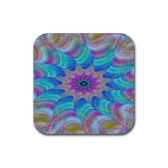 Fractal Curve Decor Twist Twirl Rubber Coaster (square)