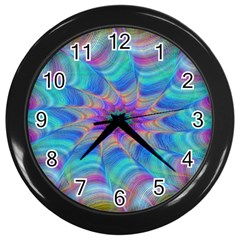 Fractal Curve Decor Twist Twirl Wall Clocks (black)