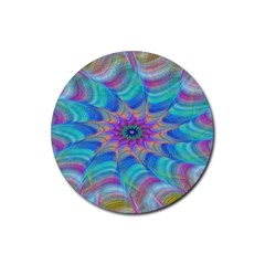 Fractal Curve Decor Twist Twirl Rubber Coaster (round)
