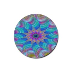 Fractal Curve Decor Twist Twirl Rubber Round Coaster (4 Pack)