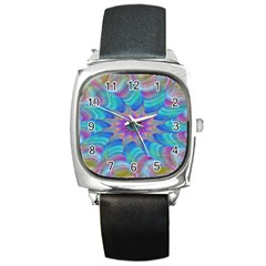 Fractal Curve Decor Twist Twirl Square Metal Watch