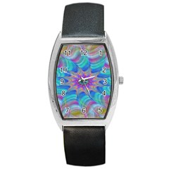 Fractal Curve Decor Twist Twirl Barrel Style Metal Watch