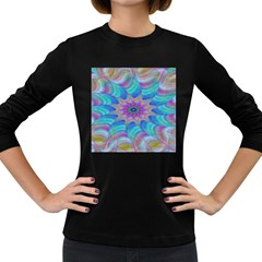 Fractal Curve Decor Twist Twirl Women s Long Sleeve Dark T Shirts