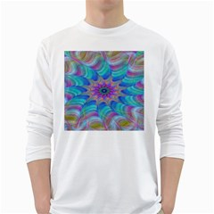 Fractal Curve Decor Twist Twirl White Long Sleeve T Shirts