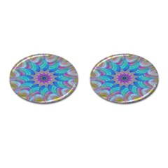 Fractal Curve Decor Twist Twirl Cufflinks (oval)