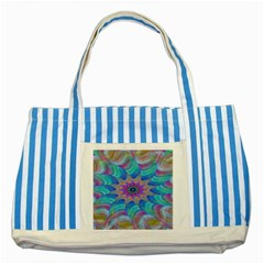 Fractal Curve Decor Twist Twirl Striped Blue Tote Bag