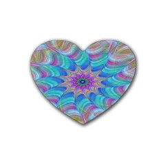 Fractal Curve Decor Twist Twirl Heart Coaster (4 Pack)