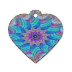 Fractal Curve Decor Twist Twirl Dog Tag Heart (one Side)