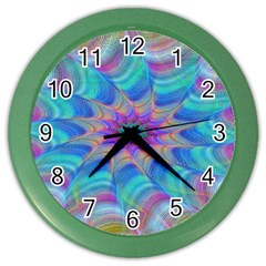 Fractal Curve Decor Twist Twirl Color Wall Clocks