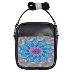 Fractal Curve Decor Twist Twirl Girls Sling Bags