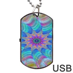 Fractal Curve Decor Twist Twirl Dog Tag Usb Flash (two Sides)
