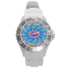 Fractal Curve Decor Twist Twirl Round Plastic Sport Watch (l)