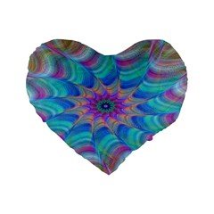 Fractal Curve Decor Twist Twirl Standard 16  Premium Heart Shape Cushions