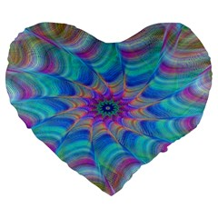 Fractal Curve Decor Twist Twirl Large 19  Premium Heart Shape Cushions