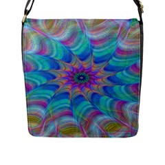 Fractal Curve Decor Twist Twirl Flap Messenger Bag (l)