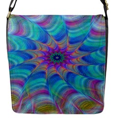 Fractal Curve Decor Twist Twirl Flap Messenger Bag (s)