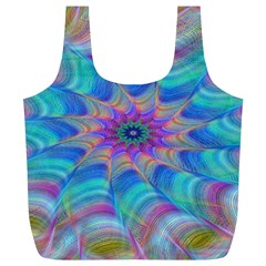 Fractal Curve Decor Twist Twirl Full Print Recycle Bags (l)