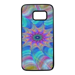 Fractal Curve Decor Twist Twirl Samsung Galaxy S7 Black Seamless Case