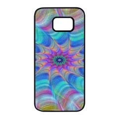 Fractal Curve Decor Twist Twirl Samsung Galaxy S7 Edge Black Seamless Case
